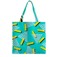 Vintage Unique Graphics Memphis Style Geometric Triangle Line Cube Yellow Green Blue Grocery Tote Bag by Mariart