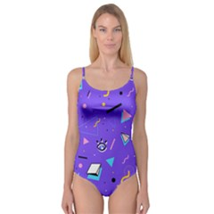 Vintage Unique Graphics Memphis Style Geometric Style Pattern Grapic Triangle Big Eye Purple Blue Camisole Leotard  by Mariart