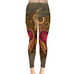 Steampunk Golden Design, Heart With Wings, Clocks And Gears Leggings  by FantasyWorld7