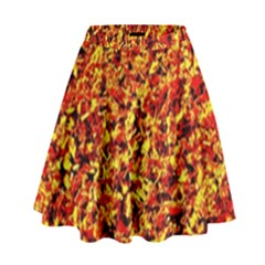 Orange Yellow  Saw Chips High Waist Skirt by Costasonlineshop
