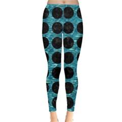 Circles1 Black Marble & Blue Green Water (r) Leggings  by trendistuff