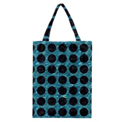 Circles1 Black Marble & Blue Green Water (r) Classic Tote Bag by trendistuff