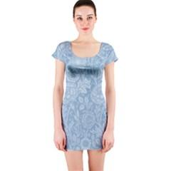 Vintage Morris Floral Blue Short Sleeve Bodycon Dress by pixeldiva