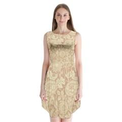 Vintage Morris Floral Brown Sleeveless Chiffon Dress   by pixeldiva
