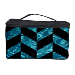 Chevron1 Black Marble & Blue Green Water Cosmetic Storage Case by trendistuff