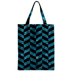 Chevron1 Black Marble & Blue Green Water Zipper Classic Tote Bag by trendistuff