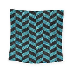 Chevron1 Black Marble & Blue Green Water Square Tapestry (small) by trendistuff