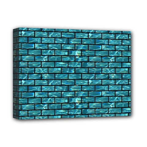 Brick1 Black Marble & Blue Green Water (r) Deluxe Canvas 16  X 12  (stretched)  by trendistuff