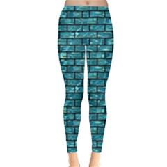 Brick1 Black Marble & Blue Green Water (r) Leggings  by trendistuff