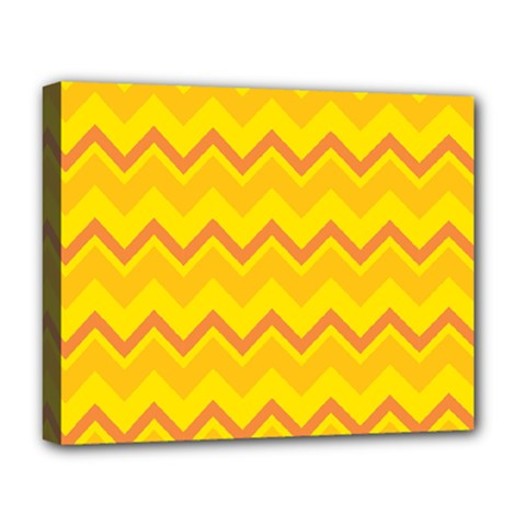 Zigzag (orange And Yellow) Deluxe Canvas 20  X 16   by berwies