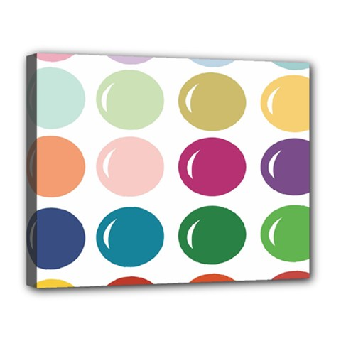 Brights Pastels Bubble Balloon Color Rainbow Canvas 14  X 11  by Mariart