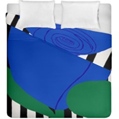 Blue Flower Leaf Black White Striped Rose Duvet Cover Double Side (King Size) by Mariart