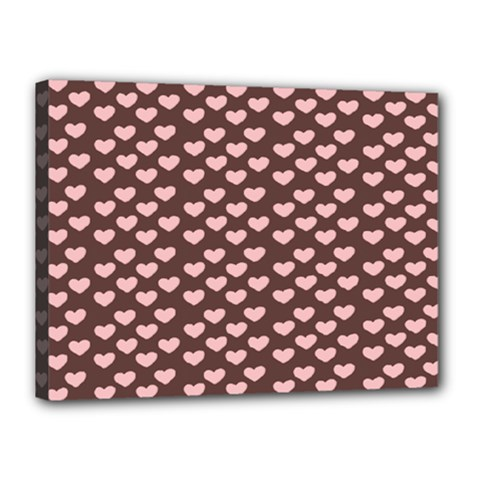 Chocolate Pink Hearts Gift Wrap Canvas 16  X 12  by Mariart
