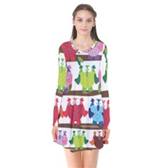 Funny Owls Sitting On A Branch Pattern Postcard Rainbow Flare Dress by Mariart