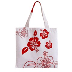 Hawaiian Flower Red Sunflower Zipper Grocery Tote Bag by Mariart