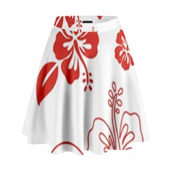 Hawaiian Flower Red Sunflower High Waist Skirt by Mariart