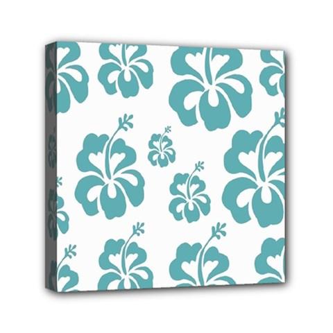 Hibiscus Flowers Green White Hawaiian Blue Mini Canvas 6  X 6  by Mariart