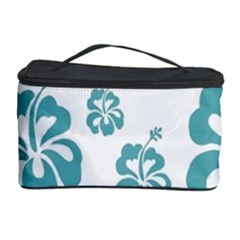 Hibiscus Flowers Green White Hawaiian Blue Cosmetic Storage Case by Mariart