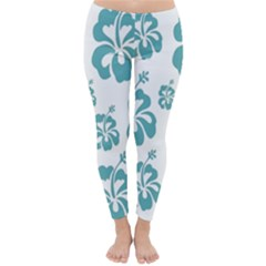 Hibiscus Flowers Green White Hawaiian Blue Classic Winter Leggings by Mariart