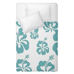 Hibiscus Flowers Green White Hawaiian Blue Duvet Cover Double Side (Single Size)
