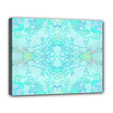 Green Tie Dye Kaleidoscope Opaque Color Canvas 14  X 11  by Mariart