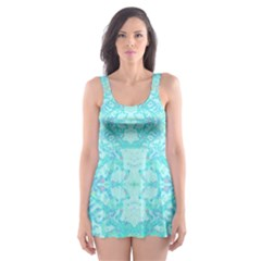 Green Tie Dye Kaleidoscope Opaque Color Skater Dress Swimsuit by Mariart