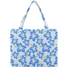 Hibiscus Flowers Seamless Blue Mini Tote Bag by Mariart