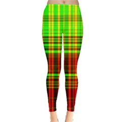 Line Light Neon Red Green Leggings  by Mariart