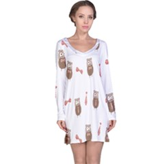 Insulated Owl Tie Bow Scattered Bird Long Sleeve Nightdress by Mariart