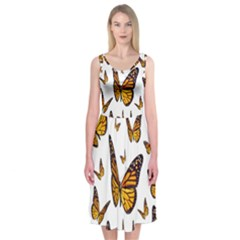 Butterfly Spoonflower Midi Sleeveless Dress by Mariart