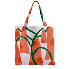 Portraits Plants Carrot Polka Dots Orange Green Zipper Grocery Tote Bag by Mariart