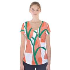 Portraits Plants Carrot Polka Dots Orange Green Short Sleeve Front Detail Top by Mariart