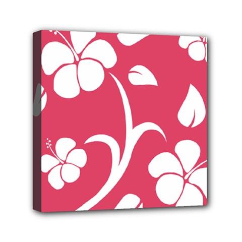 Pink Hawaiian Flower White Mini Canvas 6  X 6  by Mariart