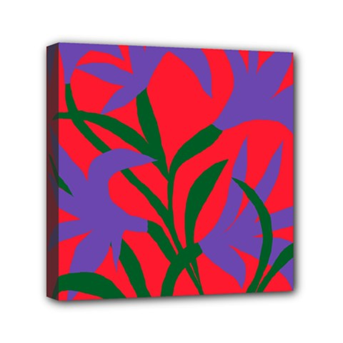 Purple Flower Red Background Mini Canvas 6  X 6  by Mariart