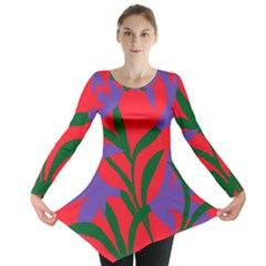 Purple Flower Red Background Long Sleeve Tunic  by Mariart