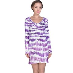 Original Feather Opaque Color Purple Long Sleeve Nightdress by Mariart