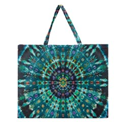 Peacock Throne Flower Green Tie Dye Kaleidoscope Opaque Color Zipper Large Tote Bag by Mariart