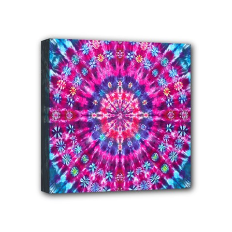 Red Blue Tie Dye Kaleidoscope Opaque Color Circle Mini Canvas 4  X 4  by Mariart