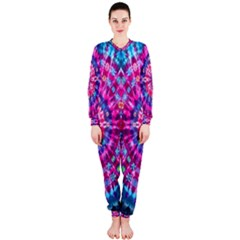 Red Blue Tie Dye Kaleidoscope Opaque Color Circle Onepiece Jumpsuit (ladies)  by Mariart