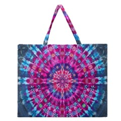 Red Blue Tie Dye Kaleidoscope Opaque Color Circle Zipper Large Tote Bag by Mariart