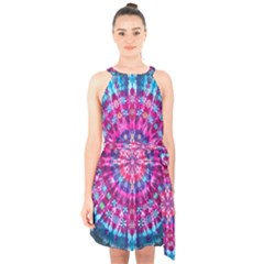 Red Blue Tie Dye Kaleidoscope Opaque Color Circle Halter Collar Waist Tie Chiffon Dress