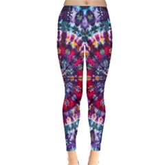 Red Purple Tie Dye Kaleidoscope Opaque Color Leggings  by Mariart
