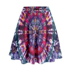 Red Purple Tie Dye Kaleidoscope Opaque Color High Waist Skirt by Mariart