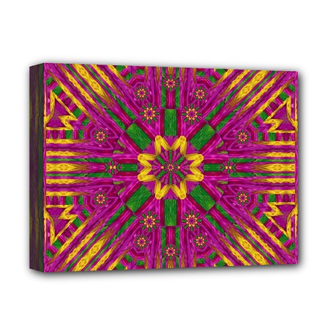 Feather Stars Mandala Pop Art Deluxe Canvas 16  X 12   by pepitasart