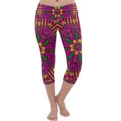 Feather Stars Mandala Pop Art Capri Yoga Leggings by pepitasart