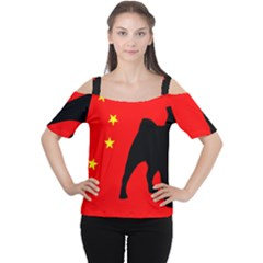 Pug China Flag Women s Cutout Shoulder Tee