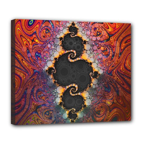 The Eye Of Julia, A Rainbow Fractal Paint Swirl Deluxe Canvas 24  X 20   by beautifulfractals
