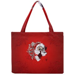 Funny Santa Claus  On Red Background Mini Tote Bag by FantasyWorld7