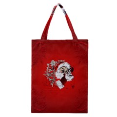 Funny Santa Claus  On Red Background Classic Tote Bag by FantasyWorld7