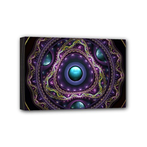 Beautiful Turquoise And Amethyst Fractal Jewelry Mini Canvas 6  X 4  by beautifulfractals